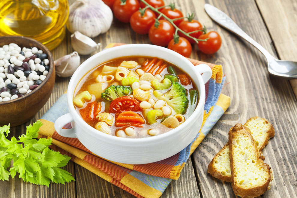 Roasted Garlic and Vegetable Soup with Pasta